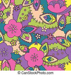 Colorful pattern with apple flowers