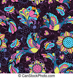 Seamless pattern or background with sunbird Phoenix and sunflower in violet style for your design
