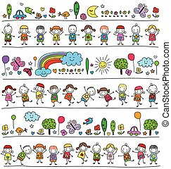colorful pattern with children and cute nature elements, ...