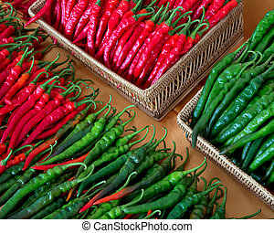 Colorful patterns of peppers.