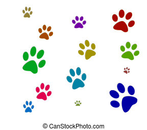 Colorful Paw Prints - Three colorfull paw prints isolated...