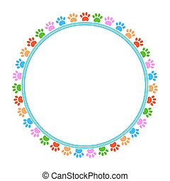 Colorful pawprints round frame