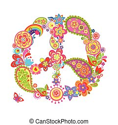 Colorful peace flower symbol with p