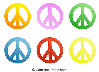 Colorful peace signs - Vector peace mark badges set...