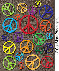 Colorful Peace Symbol on Texture Background