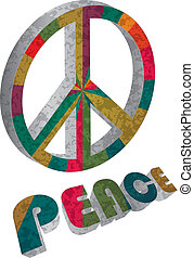 Colorful Peace Symbol on White Background Illustration