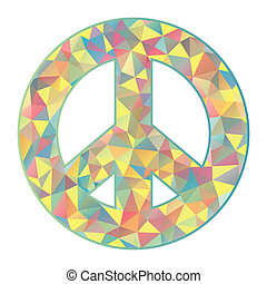 colorful peace symbol on white background