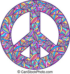colorful peace symbol - Vector illustration of colorful...