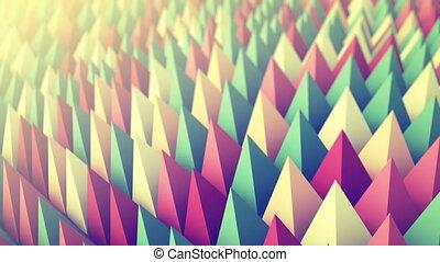 Colorful peaks waving. 3D render animation loopable -...