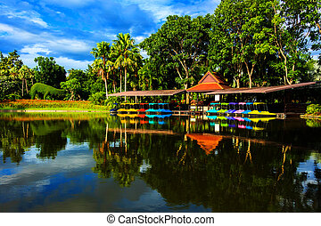 Colorful pedal boat in lake