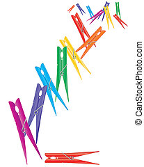 colorful pegs - an illustration of plastic pegs in rainbow ...