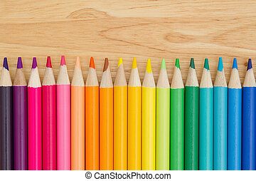 Colorful pencil crayon education background