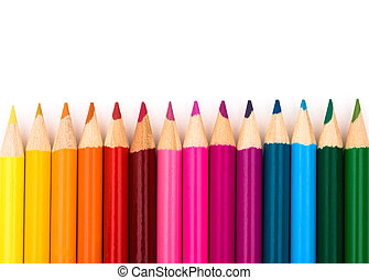 Education background - Colorful pencil crayons on a white ...