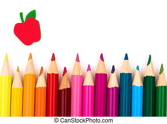 Colorful pencil crayons on a white background, Education