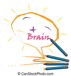 Colorful pencil crayons with creative brain sign and positive thinking concept on paper, vector illustration.