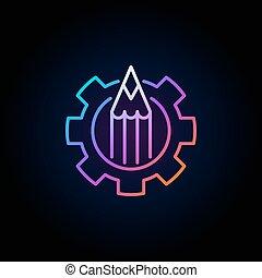 Colorful pencil in gear icon