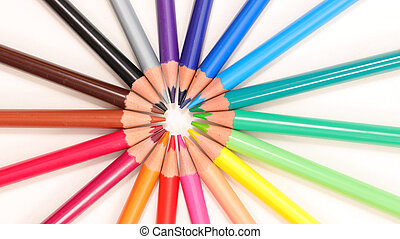 colorful pencil, top view