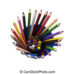 pencils and crayons in a cup