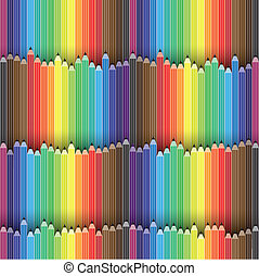 Colorful pencils arranged as seamless background- vector graphic. This illustration contains pencil or crayon icons in spectrum of colors