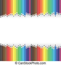 Colorful pencils arranged in rows on background- vector graphic