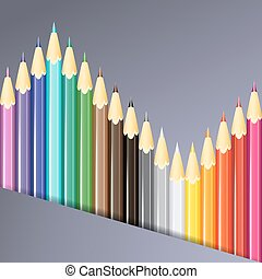 Colorful pencils background. Vector illustration.