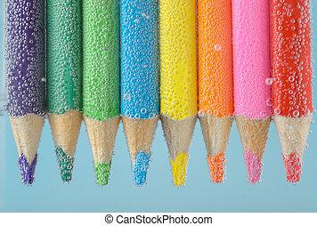 Colorful pencils close-up