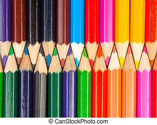 Colorful pencils closeup macro shot