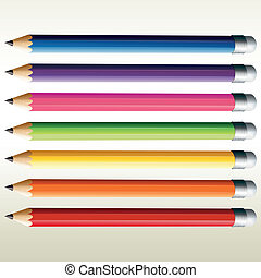 Illustration of the colorful pencils on a white background