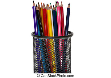 Colorful pencils in a pen holder