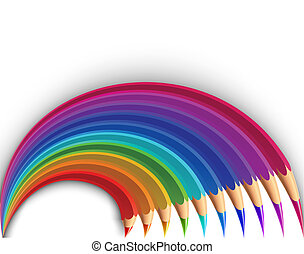 Colorful pencils in the shape of a rainbow. Vector