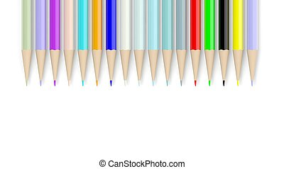 Colorful pencils, isolated on white background