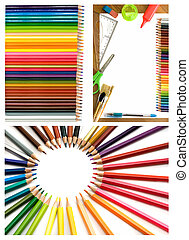 colorful pencils, office supplies