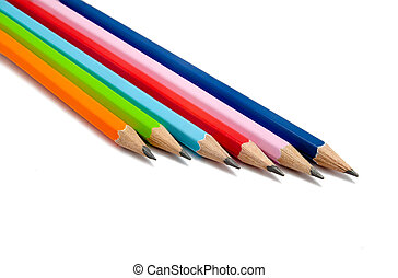 Colorful pencils on a white background, with clipping path