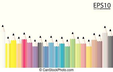 Colorful pencils on white background template.