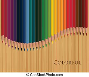 Colorful pencils on wooden table vector illustration.