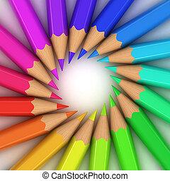 colorful pencils 3d illustration