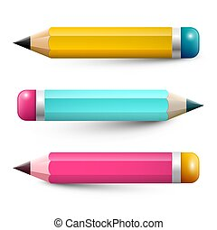 Colorful Pencils. Vector Pencil Symbols Set Isolated on White Background.