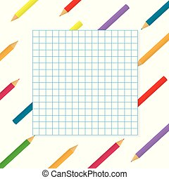 colorful pencils with checkered paper background- vector illustration