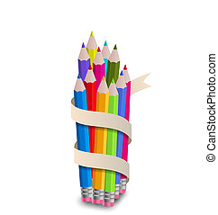 Colorful pencils with ribbon, on white background