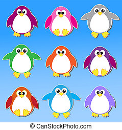 Colorful penguins stickers