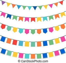 Colorful pennant bunting collection with stitch lines ...
