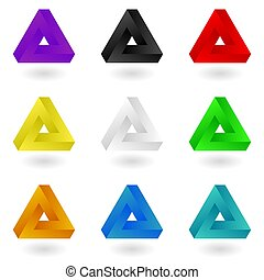 Set of nine bright colorful Penrose triangles. Vector, isolated, eps 10
