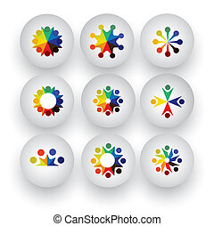 colorful people, children, employees icons collection set - vect