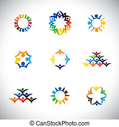 colorful people, children, employees icons collection set -...