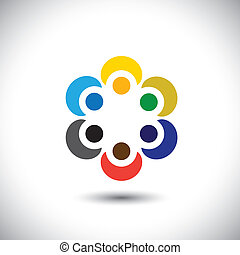 colorful people hugging in circle - teamwork concept vector