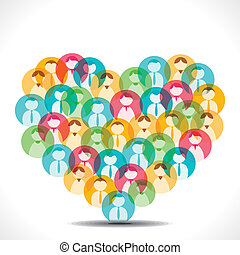 colorful people icon heart shape