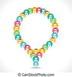 colorful people icon message bubble