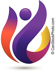 colorful people logo, coach fitness logo concept