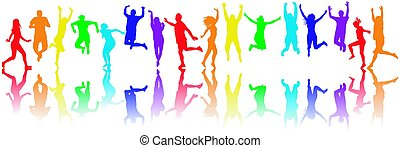 Colorful people silhouettes jumping