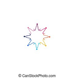 Colorful people together art, logo, sign, symbol, artwork isolated on white